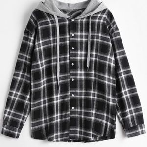 Flannel Button Up with a Hood